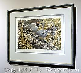 Robert Bateman Gambles Quail Pair limited edition print, framed, s/n