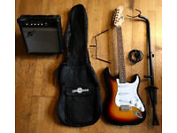 Complete Electric Guitar Setup – Guitar, amp, stand, carry case – EVERYTHING YOU NEED