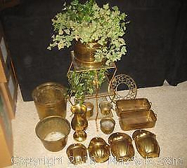 Brass planters and stand - B