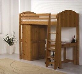 High pine bed set with cupboard and desk