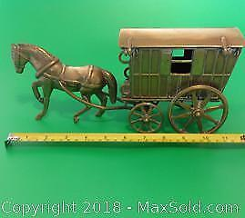SOLID brass horse drawn CARAVAN. Intricately constructed.