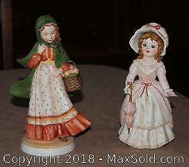 Set Of 2 Vintage Ceramic Girl Figurines By Holly Hobbie & The Victorians