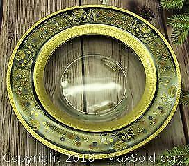 Heavy Glass Antique Painted Centerpiece Bowl - B