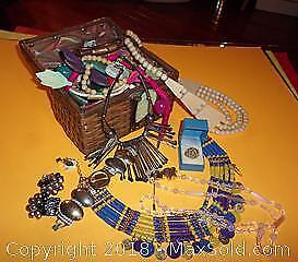 Costume Jewelry lot and Vintage Weave Purse - A