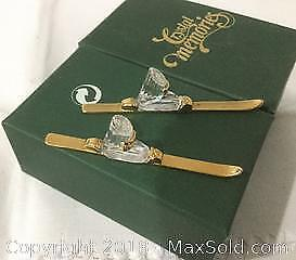 Swarovski crystal and 18 carat GOLD PLATE miniature skis.