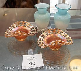 Carnival glass & vases -A