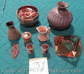 Copper pot of potpourri, several small vases, 2 small wooden cups, glass ashtray, spiked copper flower holder