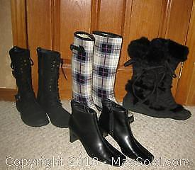 Women's Boots Size 6 1/2 - 8 1/2 Four Pairs - B