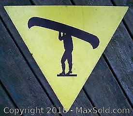 Old Wooden Canoe Crossing Trail Sign - C