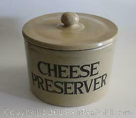 Large Vintage Moira Pottery British Farmhouse Cheese Preserver Crock with Lid