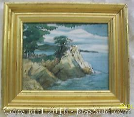'Lone Cypress' original Watercolour painting by listed California artist Patricia Akay