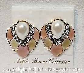 Iconic 1970s clip-on earrings stamped BUTLER, with original packaging showing made for FIFTH AVENUE COLLECTION