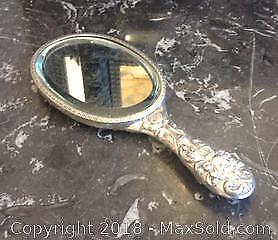 Victorian Highly Decorated STERLING SILVER MIRROR. 10.5 inches long.