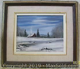 Winterscape Framed Oil Painting On Canvas Signed Bowman