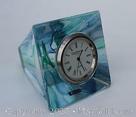 Caithness Blown Glass Paperweight Clock
