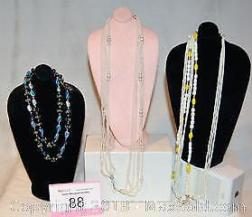 Costume jewellery, VINTAGE NECKLACES, all stamped JAPAN. Lot of 3