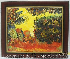 Large Impressionist Oil Painting on Canvas signed L. Vernon