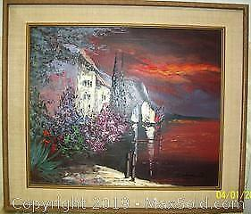 Dramatic Wood Framed Oil Palette Painting Signed Caldini