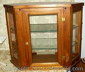 Antique Three Shelf Pine Wood Store Counter/Wall Display Cabinet