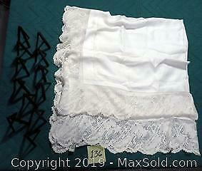 White lace table cloth & 12 easel name holders