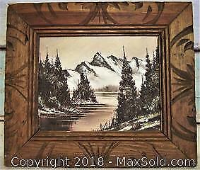 1979 Original Signed Oil Painting Hand Carved Frame - B
