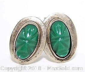 Vintage Hand Crafted Sterling & Carved Green Stone Cufflinks - A