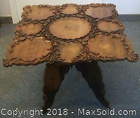 Antique Raj Art Nouveau era folding exotic Wood Indian Table