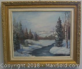 Original Winter Landscape Oil On Board Painting Signed D. Leits