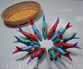 12 Hand Crafted Wooden Fish Napkin Rings - B