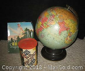 Vintage World Globe, Wind Up Toy, Phil Esposito Puzzle - A