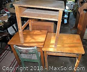 3 old school desks and 1 chair
