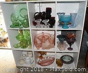 All items on shelf Vaseline glass carnival glass depression glass and more
