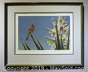 Robert Bateman House Finch and Yucca limited edition print, framed, s/n