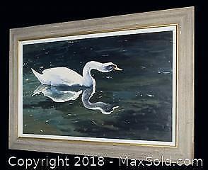 "Alan Sahkaravz ""Swan"" large original oil on canvas, framed."