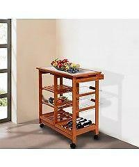 Rolling Kitchen Trolley Cart With Wine Rack /Wooden kitchen cart