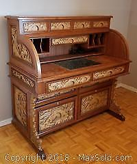 Vintage Carved Wood Desk