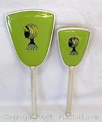 Vintage Mirror & Brush Vanity Set - Silver Tone With Green Portraits