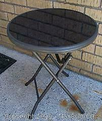 Folding Tempered Glass Metal Round Patio Table - C