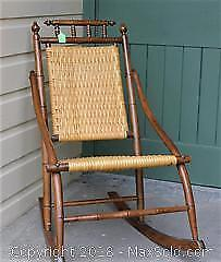 Antique Cane Seated Wood Rocking Chair