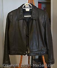 Women's Black Leather Bomber Jacket B