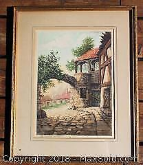 "Large Framed Paris Society Etching Signed By ""De Fontaine"""