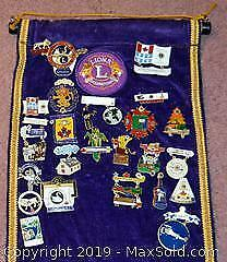 3e2dece9b1189 LIONS CLUB HANGING DISPLAY featuring over 95 vintage Lions Club pins