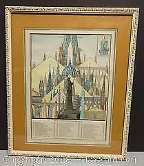 Antique 19th century Lithograph of Notable High Buildings of the World.