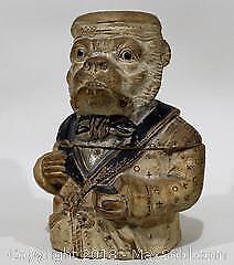 19th Century Porcelain Figural Bulldog Tobacco Jar/Humidor