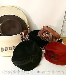 Lot of Vintage Ladies Hats and Hatbox