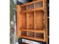 pine glass fronted bookcase - £50