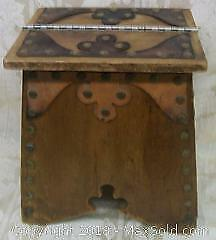 Antique Arts $ Crafts Wood Leather Shoe Shine Box C.1910