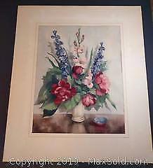 Antique Print of Flowers
