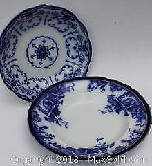 Two Antique Flow Blue Wedgwood China Bowls