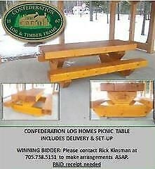 Confederation Log Homes Picnic Table
